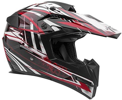 Vega Helmets MIGHTY X Kids Youth Dirt Bike Helmet – Motocross Full Face Helmet for Off-Road ATV MX Enduro Quad Sport 5 Year Warranty  Red Blitz GraphicMedium