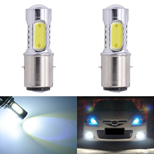KaTur 1600 Lumens 75W COB H6 BA20D LED Aluminum Motorcycle Fog Lights DRL Motorbike Turn Signals Light Bulbs Day Running Light 12V White 6000K 2-Pack