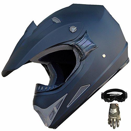 ATV Motocross Dirt Bike Helmet Off Road Combo 405 Matt BlackGlovesGoggles XL