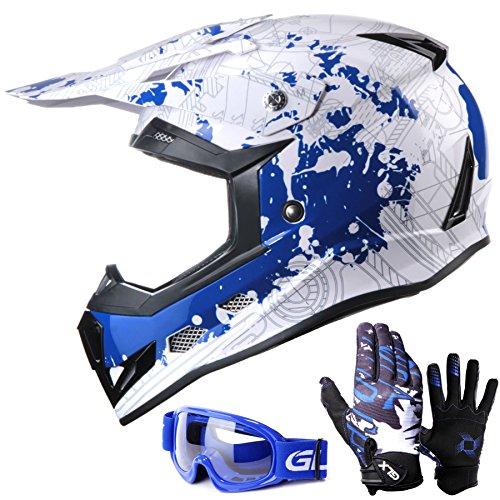 GLX YouthKids Motocross Dirt Bike ATV Helmet DOT Certified Lightweight Off RoadGlovesGoggles L