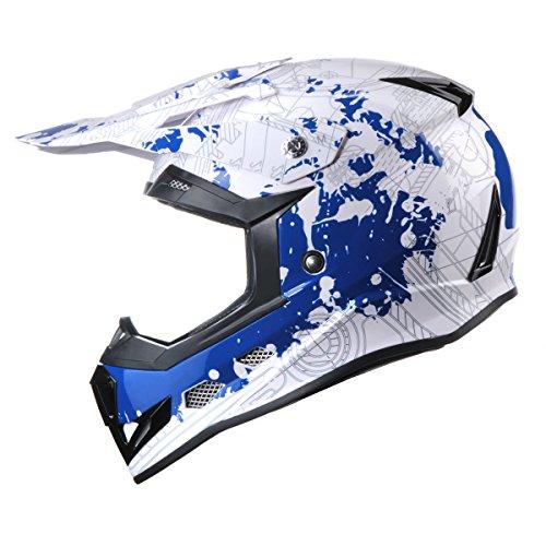 GLX YouthKids Motocross Dirt Bike ATV Helmet Lightweight Street Off Road Blue M