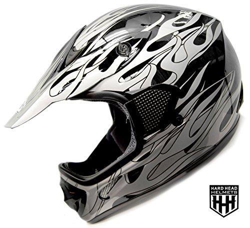 SmartDealsNow - HHH DOT Youth Kids Helmet for Dirtbike ATV Motocross MX Offroad Motorcyle Street bike BLACK FLAME Medium