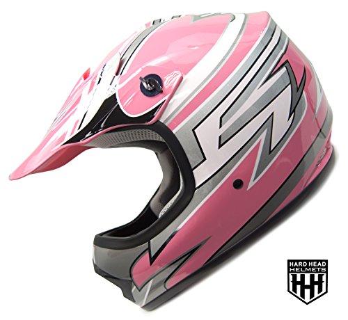 SmartDealsNow - HHH DOT Youth Kids Helmet for Dirtbike ATV Motocross MX Offroad Motorcyle Street bike PINK STRIPES Large