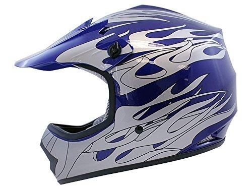 TMS Youth Kids Blue Flame Dirt Bike Motocross Helmet Atv Mx Small
