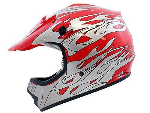 TMS Youth Kids Red Flame ATV Motocross Dirt Bike Off-Road MX Gear Helmet DOT Medium