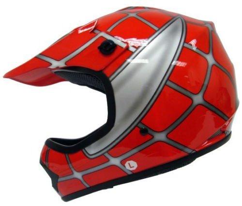 Youth Kids Red Spider Net Dirt Bike Motocross MX Dirt Bike ATV Off-Road Helmet DOT Small