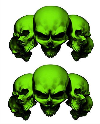 2 sticker set Green 5 Skull 5 in long x 32 in tall Motorcycle Sticker Honda CBR Kawasaki Ninja Yamaha YZF Harley Davidson Decal Set