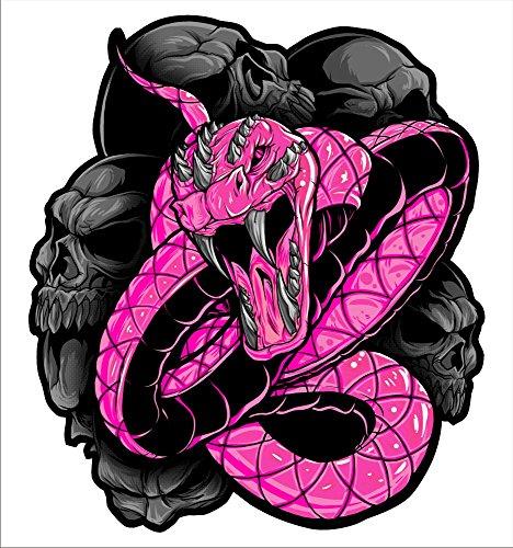 2 sticker set Pink Snake 5 inch x 5 inch Motorcycle Sticker Honda CBR Kawasaki Ninja Yamaha YZF Harley Davidson Decal Set