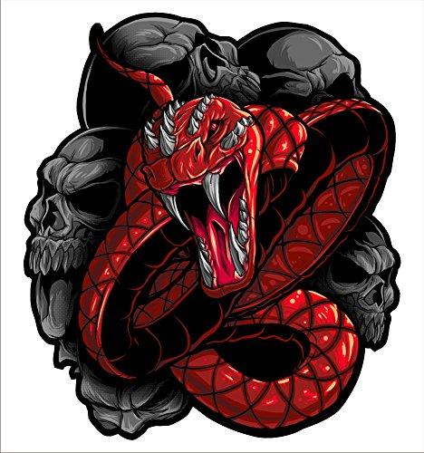 2 sticker set Red Snake 5 inch x 5 inch Motorcycle Sticker Honda CBR Kawasaki Ninja Yamaha YZF Harley Davidson Decal Set