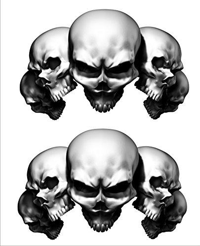 2 sticker set White 5 Skull 7 in long x 45 in tall Motorcycle Sticker Honda CBR Kawasaki Ninja Yamaha YZF Harley Davidson Decal Set