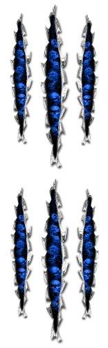 Blue Skull Rip Kawasaki Ninja ZX 14R 12R 10R 7R 6R 650R 600 250R Suzuki GSXR 1000 750 600 Hayabusa Yamaha YZF R1 R6 FZ1 FZ6 FZ8 Honda CBR 1000RR 600RR 600 F4I Motorcycle Sticker Decal