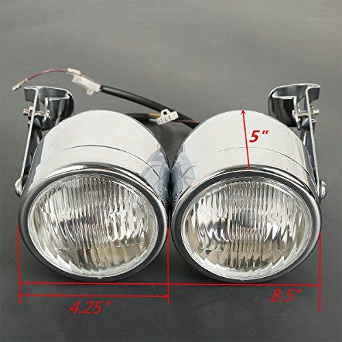 TCMT Twin Front Headlight W Bracket Chrome For Harley Fat Boy Dual Sport Dirt Bike