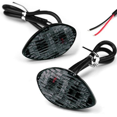 2X Smoke Amber 12-LED Flush Mount Turn Signal Blinker Side Marker For 2000-2004 Honda CBR 954 2004-2007 CBR 1000RR JDM Style