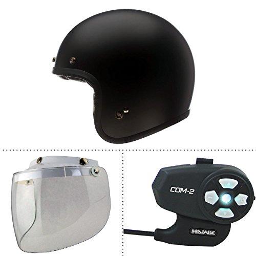 Bell Custom 500 Solid Flat Black Open Face Helmet with Hawk COM-2 Bluetooth Int - Medium w N-10-Clear-Shield  COM-2