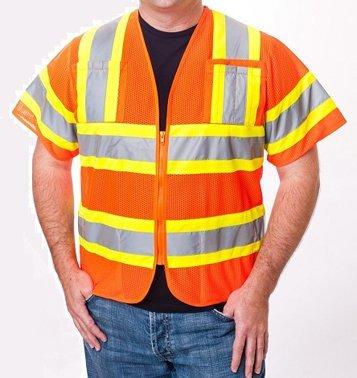 Premium Reflective Motorcycle Vest - Zippered Front - Orange - Large