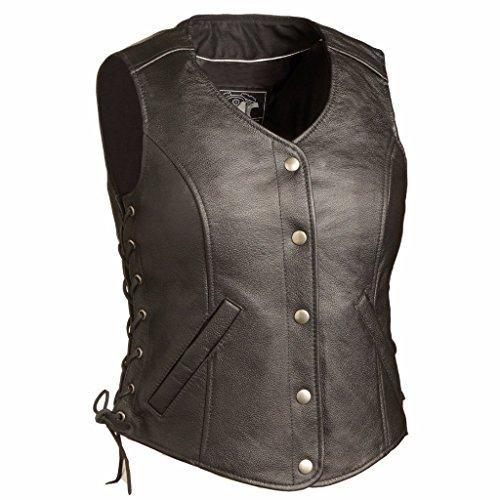 First Manufacturing Mens Honey Badger Women's Leather Vest Black Xx-Large