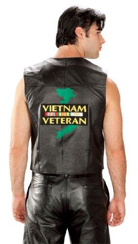 Mens Patriotic Vietnam Leather Vest - X-Large
