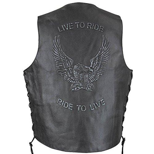 Xelement VE9700 Mens Black Embossed Live to Ride Eagle Leather Vest - 2X-Large