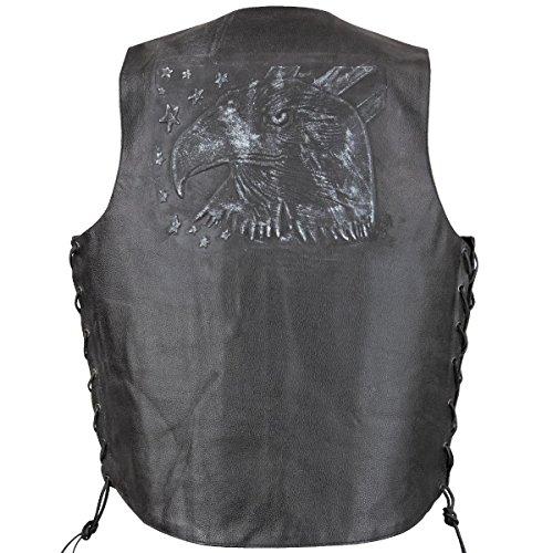 Xelement VE9720 Mens Black Embossed Eagle Head Stars Leather Vest with Conceale - Medium