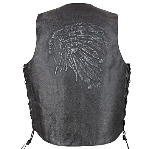 Xelement VE9730 Mens Black Embossed Indian Head Leather Motorcycle Vest - 4X-Large