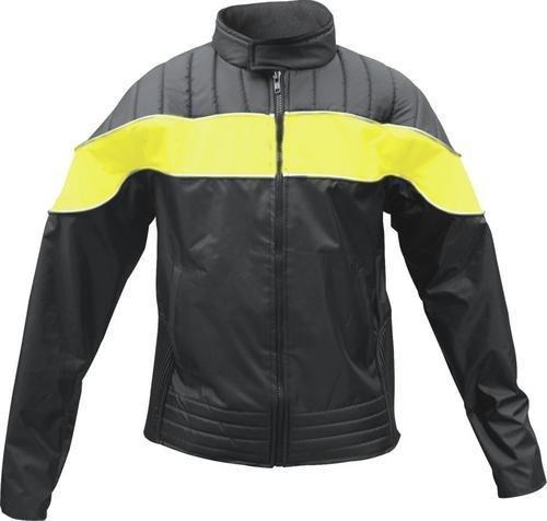 Ladies Yellowblack Textile Riding Jacket 100 Nylon Water Resistant w Reflector Stripes