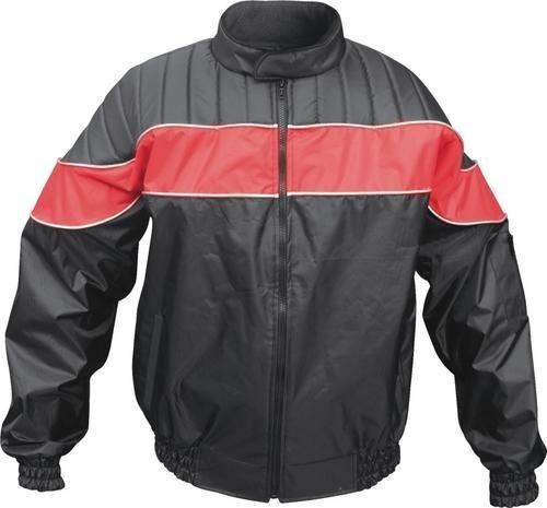 Mens Redblack Textile Riding Jacket 100 Nylon Water Resistant w Reflector Stripes AL 2091 -M