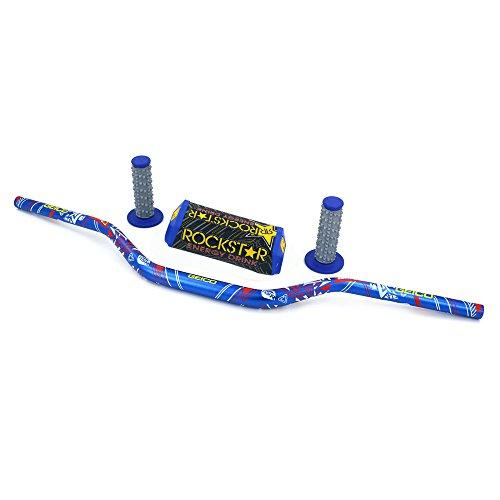 JFG RACING Blue Motorcycle 1 18 28mm Handlebar Fat Handle Bar Pad Grips Set For Yamaha YZ80 YZ85 YZ125 YZ250 YZ250F YZ400F YZ426F