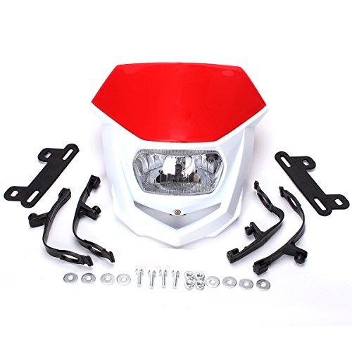 FXCNC Motorcycle Headlight LED 12V 35W H4 Universal Fits for Honda CRF250X CRF450X CRF250L XR250 XR400 XR650 Dirt Bike Red&White