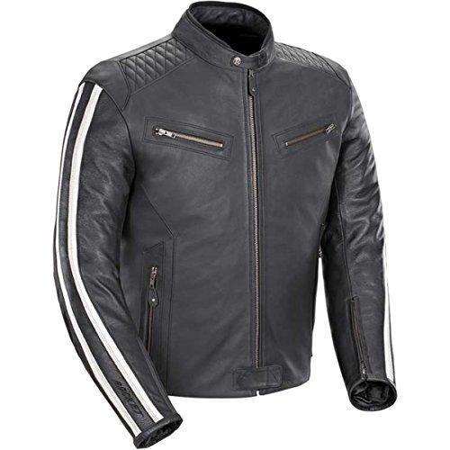 Joe Rocket Vintage Rocket Men's Leather Street Motorcycle Jacket - Black/white / Large