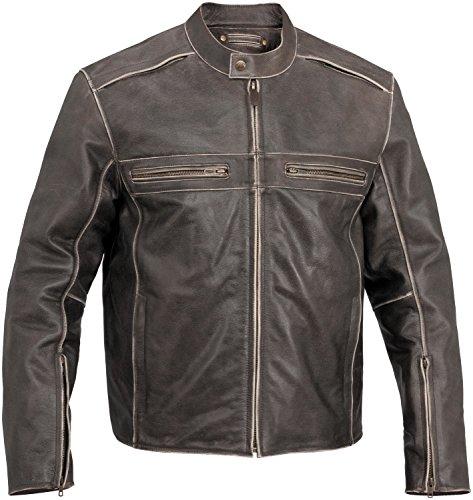 River Road Drifter Vintage Mens Brown Leather Jacket - 40