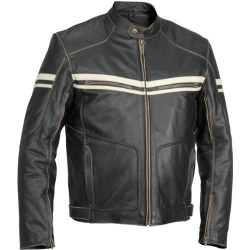 River Road Hoodlum Men's Vintage Leather Touring Motorcycle Jacket - Black / Size 48