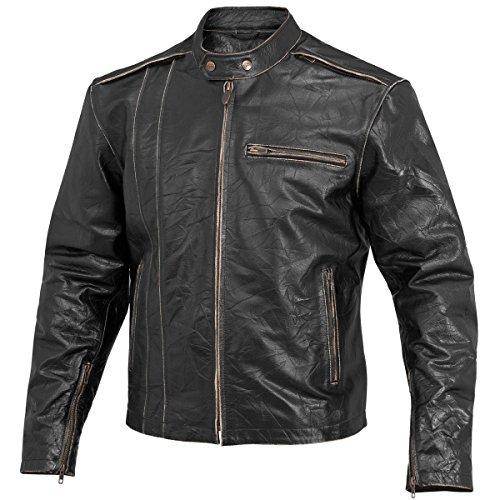 River Road Petro Distressed Vintage Mens Black Leather Jacket - 46
