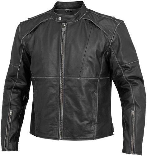 River Road Rambler Vintage Mens Black Leather Jacket - 46