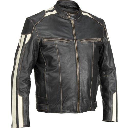River Road Roadster Men's Vintage Leather Cruiser Motorcycle Jacket - Black / Size 46