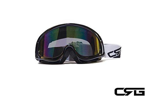 CRG Sports Motocross ATV Dirt Bike Off Road Racing Goggles BLACK T815-3-1A T815-3-1A Multi-color lens black frame