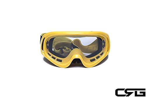 CRG Sports Motocross ATV Dirt Bike Off Road Racing Goggles YELLOW T815-3-4 T815-3-4 Transparent lens yellow frame