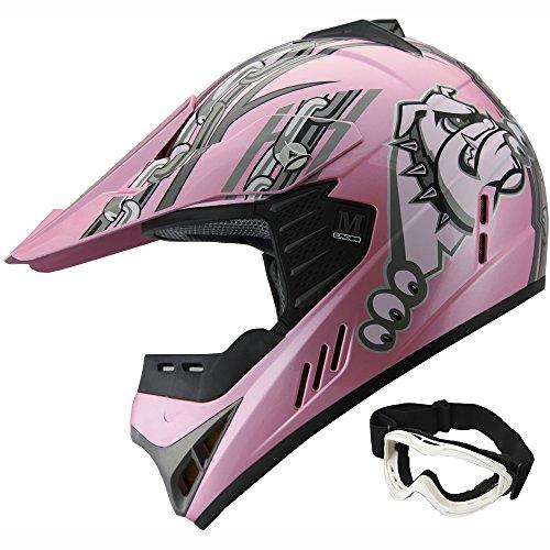 Kid ATV Motocross Dirt Bike Off-road Helmet YA96 Pink goggles YXL
