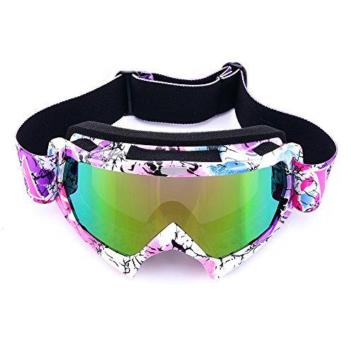 MotorFansClub Racing Dirt Bike Motorcycle Motocross ATV Anti-UV Skiing Goggles GlassesPink Colorful Lens