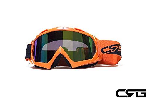 CRG Sports Orange Motocross ATV Dirt Bike Off Road Racing Goggles T815-7-6A Multi-Color Lens Orange Frame