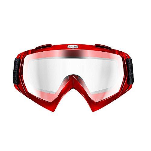 HEROBIKE Motorcycle Off-Road Racing Goggles Winter Skate Sled ATV Eyewear Motocross DH MTB Glasses Single Lens Clears Red