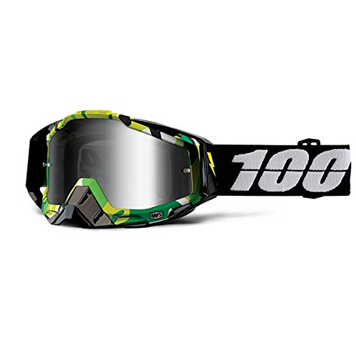 100 Unisex-Adult Bootcamp Racecraft MX Motocross Goggles With Mirrored Lens BlackOne Size Fits Most