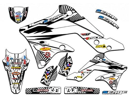 Senge Graphics 2008-2017 Kawasaki KLX 250 Mayhem White Graphics Kit
