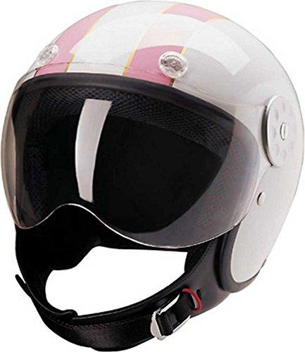 HCI Open Face Fiberglass Motorcycle Helmet - White w Pink Stripes 15-620 Lg