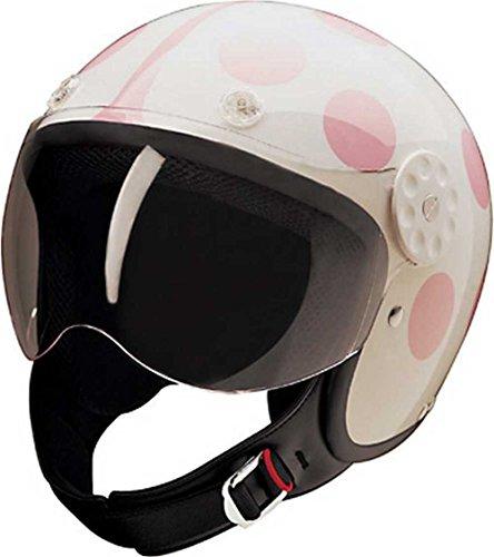 HCI Open Face Fiberglass Motorcycle Helmet - WhitePink Ladybug 15-250 Medium