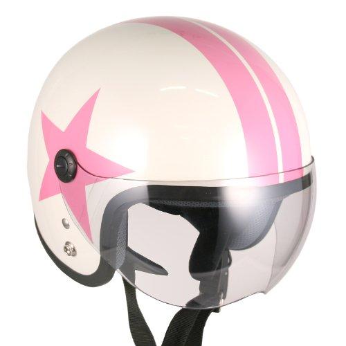 Pilot Style Open Face Motorcycle Helmet White Pink-star Large Model Nojet-bb