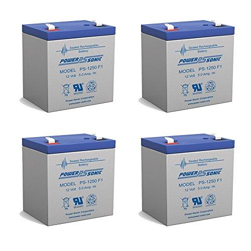 12V 5AH Rechargeable Sealed Lead Acid Battery - 4 Pack