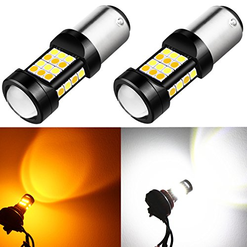 Alla Lighting 1200 Lumens Extremely Super Bright 1157 2357 7528 LED Switchback Bulbs High Power 3030 SMD Dual Color White  Yellow LED Lights Lamps for Turn Signal Blinker Light