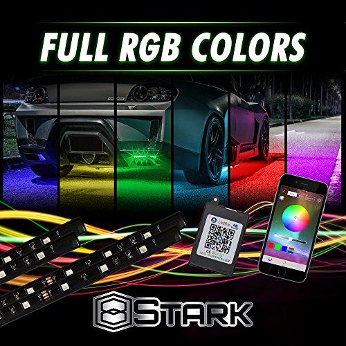 4 PCS - LED Neon Undercar Glow light  Underglow  Show Car Lights Kit - LED Strip Underbody Kit RGB - 355 x 470Medium - with Bluetooth