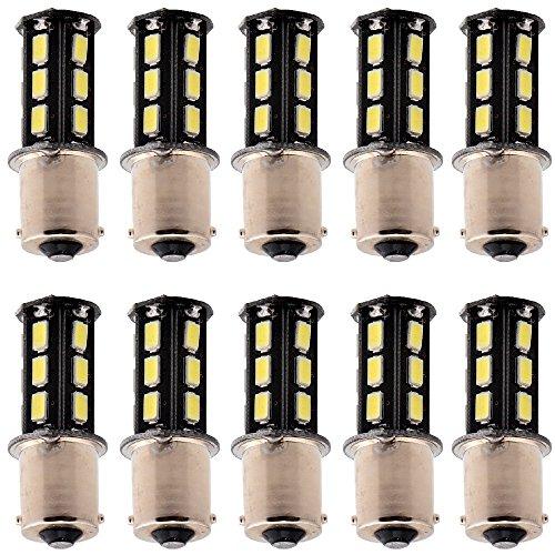 EverBright 10-Pack Super White 370Lums 1156 BA15S 1141 1073 1095 1003 7506 Base 18 SMD 5730 LED Replacement for Car Incandescence Bulb RV Camper Brake Turn Lamp Lights DC 12V