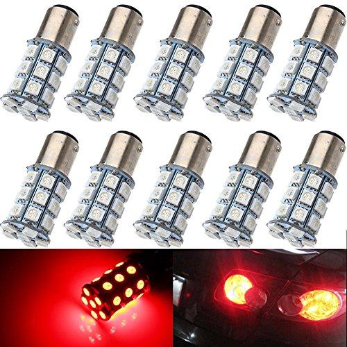 KATUR 10-Pack Red Super Bright 750Lums 1157 BAY15D 1016 1034 1196 2057 2357 Base 27 SMD 5050 LED Replacement for Car Incandescence Bulb RV Camper Brake Turn Lamp Lights DC 12V 8000K